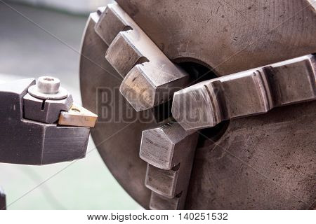 industrial boring mill cutter in workshop space