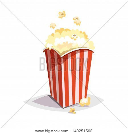 Colorful cartoon fast food icon on white background. Large popcorn packaging. Isolated vector illustration. Eps 10.