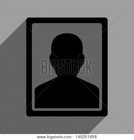 User Portrait long shadow vector icon. Style is a flat user portrait black iconic symbol on a gray square background with longshadow.