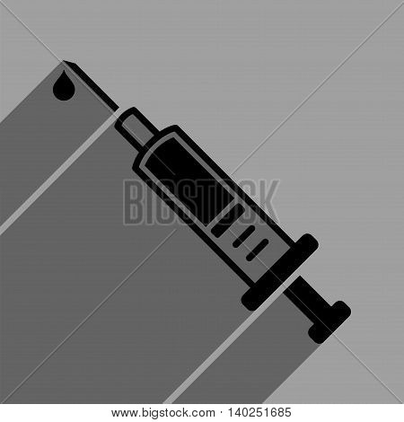 Vaccination long shadow vector icon. Style is a flat vaccination black iconic symbol on a gray square background with longshadow.