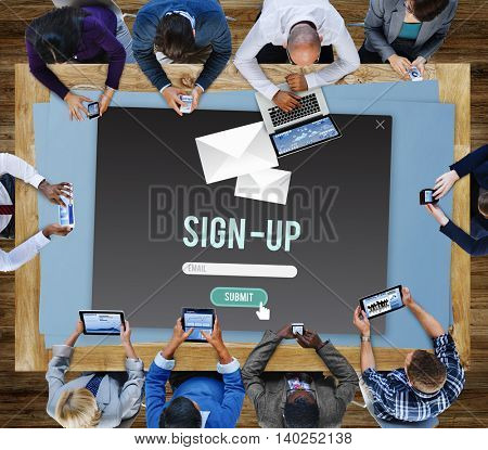 Sign-in Sign-up Application Apply Enroll Enter Concept