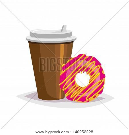 Colorful cartoon fast food icon on white background. Coffee and donut. Isolated vector illustration. Eps 10.