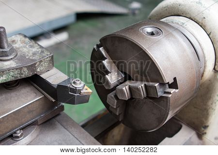 industrial boring mill machinery in workshop space