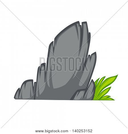 Rock stone cartoon flat style. With grass. Vector Illustration.