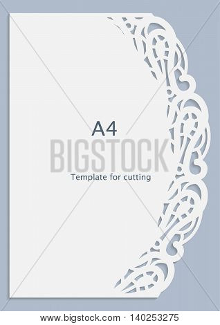 A4 paper lace greeting card white pattern cut-out template template congratulation perforation pattern vector