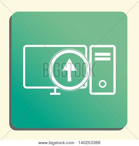 Pc Up Icon In Vector Format. Premium Quality Pc Up Symbol. Web Graphic Pc Up Sign On Green Light Bac
