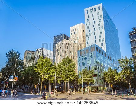 BARCELONA SPAIN - JULY 10 2016: Modern buildings in Barcelona located near the Agbar Tower
