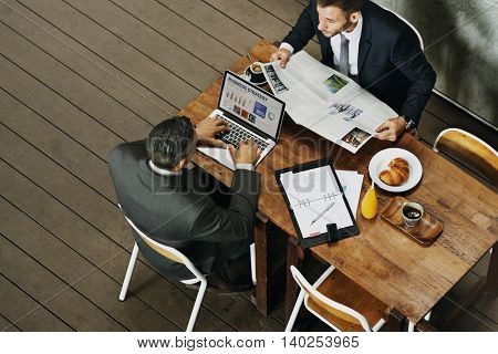 Businessmen Working Cafe Breakfast Concept