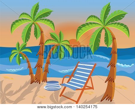 Tropical beach with palms and lounge chair. Vector background