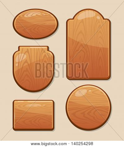 vector Set of wooden boards with diferent shapes. Empty badges and stickers for your personal design projects. Labels with place for your text