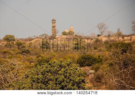 Chittorgarh Fort, Rajasthan, India. View Of The City. Panorama.