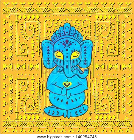 Card with elephant Ganesha Hindu god. Ornament background. Illustration for prints dress, coloring book. Happy Birthday Chaturthi