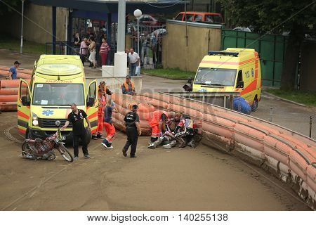 Ambulance Try To Help Rider After Fall
