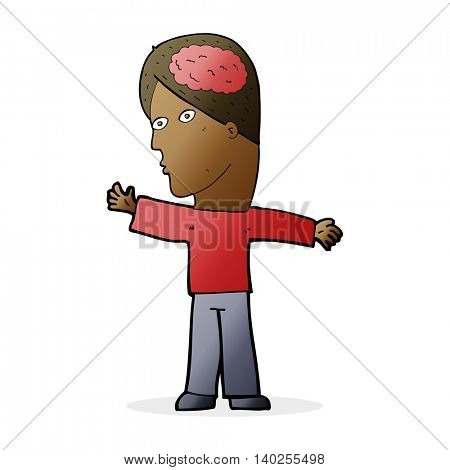 cartoon man with brain