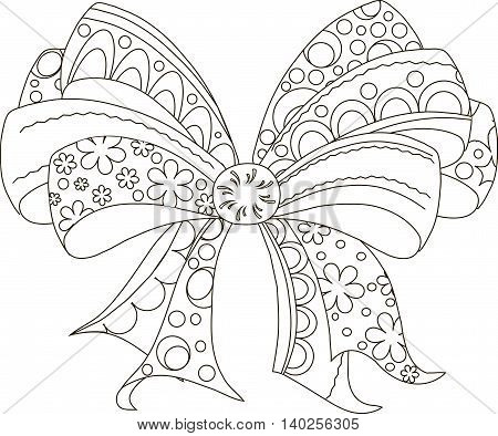 Zentangle stylized black and white bow, hand drawn, vector illustration