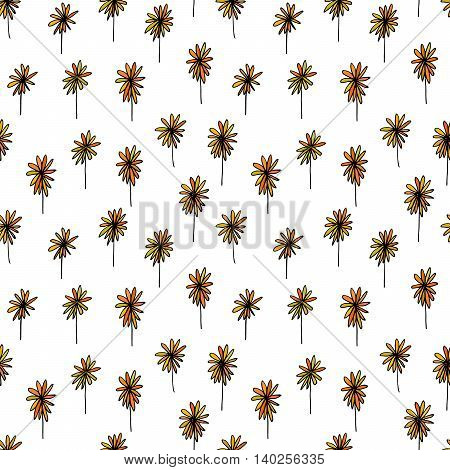Cute seamless hand drawn pattern of varicolored camomile flowers on white background. Design element for background, textile, paper packaging, wrapping paper and other. Vector illustration.