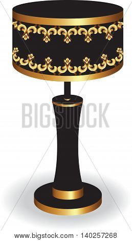 Vintage Baroque Classic lamp with luxury ornaments Golden Black. Vector
