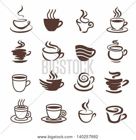 Coffee cup symbol icon illustration set isolated on white background