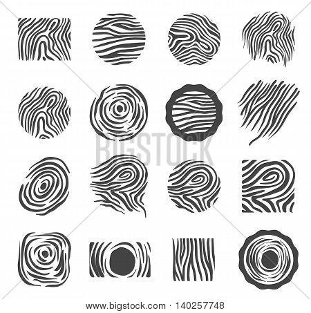 Wood texture logo icon illustration symbol set