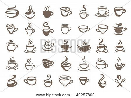 Coffee cup symbol icon illustration set brown on white background