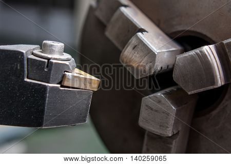 industrial boring mill cutter close up view