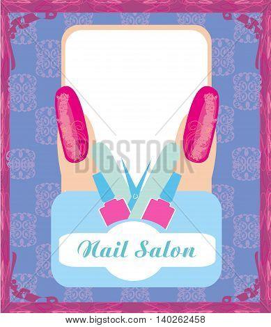 Nail Salon design poster card  , vector illustration