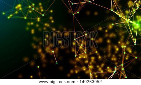Abstract technology and science background. Plexus stylish dynamic digital wallpaper. Lines and dots connected. Computer generated image with depth of field settings.