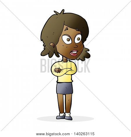 cartoon surprised woman