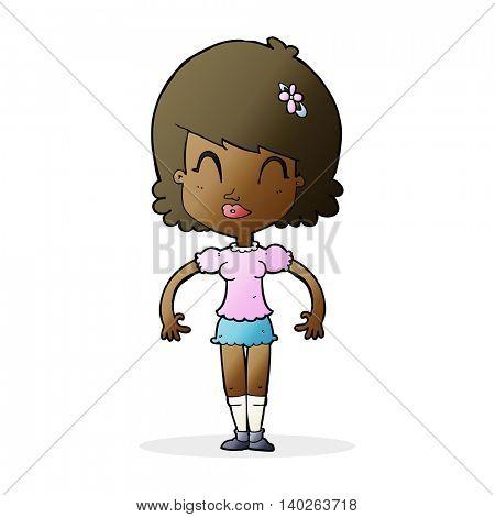 cartoon happy pretty woman