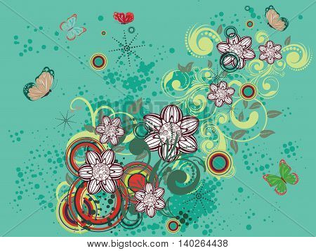 Colorful Floral On Green Background