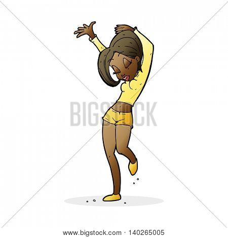 cartoon pretty woman dancing