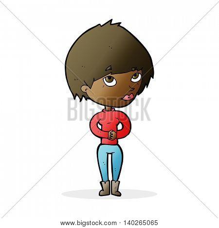 cartoon woman considering