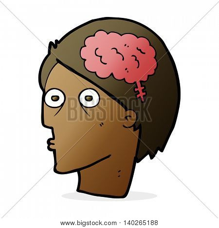 cartoon head with brain symbol
