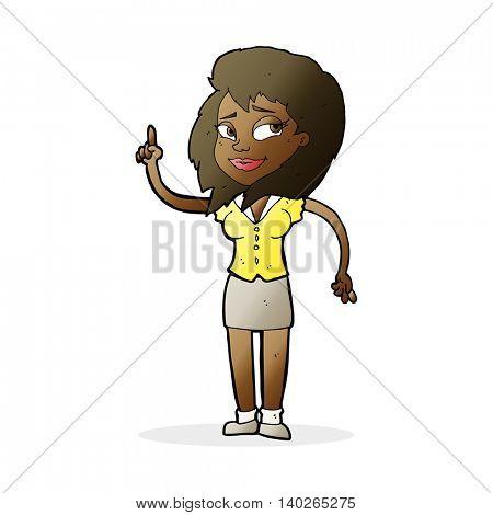 cartoon pretty woman with idea