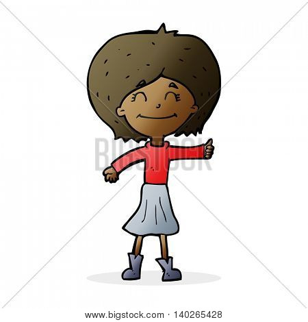 cartoon happy girl giving thumbs up symbol