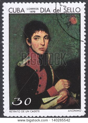 MOSCOW RUSSIA - CIRCA FEBRUARY 2016: a post stamp printed in CUBA showsa painting