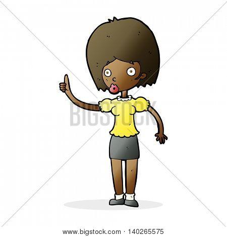 cartoon woman with idea