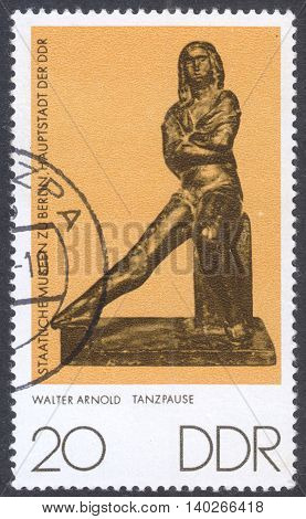 MOSCOW RUSSIA - CIRCA MAY 2016: a post stamp printed in DDR shows a sculpture
