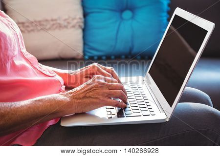 Senior woman using a laptop in a retirement home