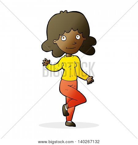 cartoon friendly woman waving