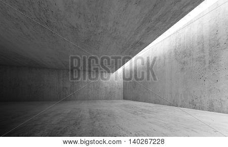 Empty Concrete Room With Lighting In Ceiling