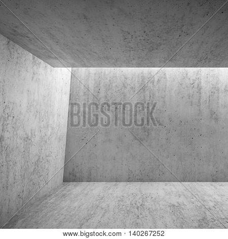 3D Empty Room Interior With Concrete Walls
