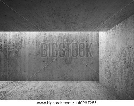 3D Empty Dark Room With Concrete Walls
