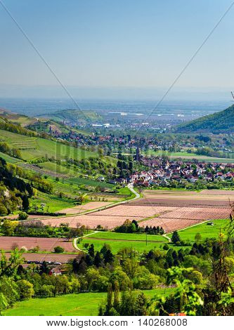 Panoramic view on the valley in Vosges, Alsace France