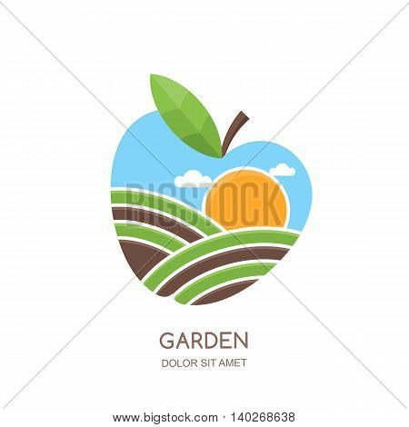 Fruit Gardens And Farming Vector Logo, Label, Emblem Design. Fields Landscape In Apple Shape.