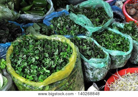 Green Herbs In Plastic Bags