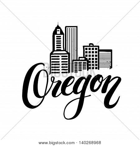 Vector illustration of cityscape skyline of Portland, Oregon. lettering logo with hand drawn element isolated.