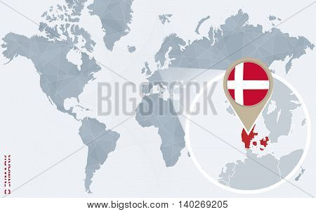 Abstract Blue World Map With Magnified Denmark.