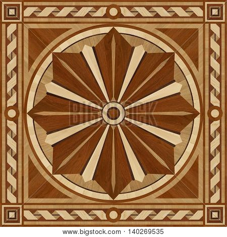 Medallion design parquet floor wooden texture for 3D interior