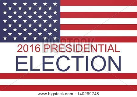 2016 US Presidential election with Stars and Stripes illustration